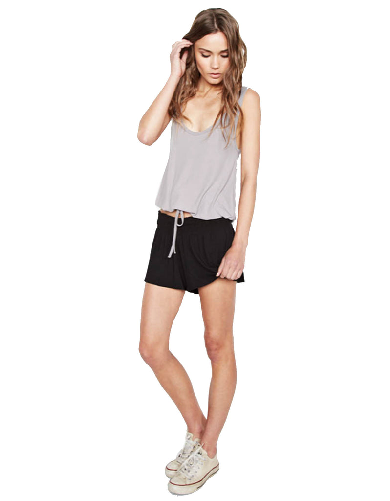 Michael Lauren Fox Smocked Short in Black - SWANK - Shorts - 1