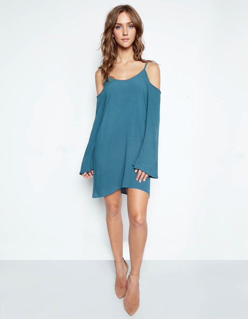 Michael Lauren Gillis Open Shoulder Bell Dress in Tidepool - SWANK - Dresses - 1