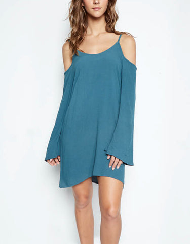 Michael Lauren Gillis Open Shoulder Bell Dress in Tidepool
