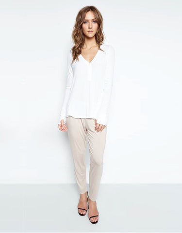 Michael Lauren Kobe V-Neck Henley w/Tail in White
