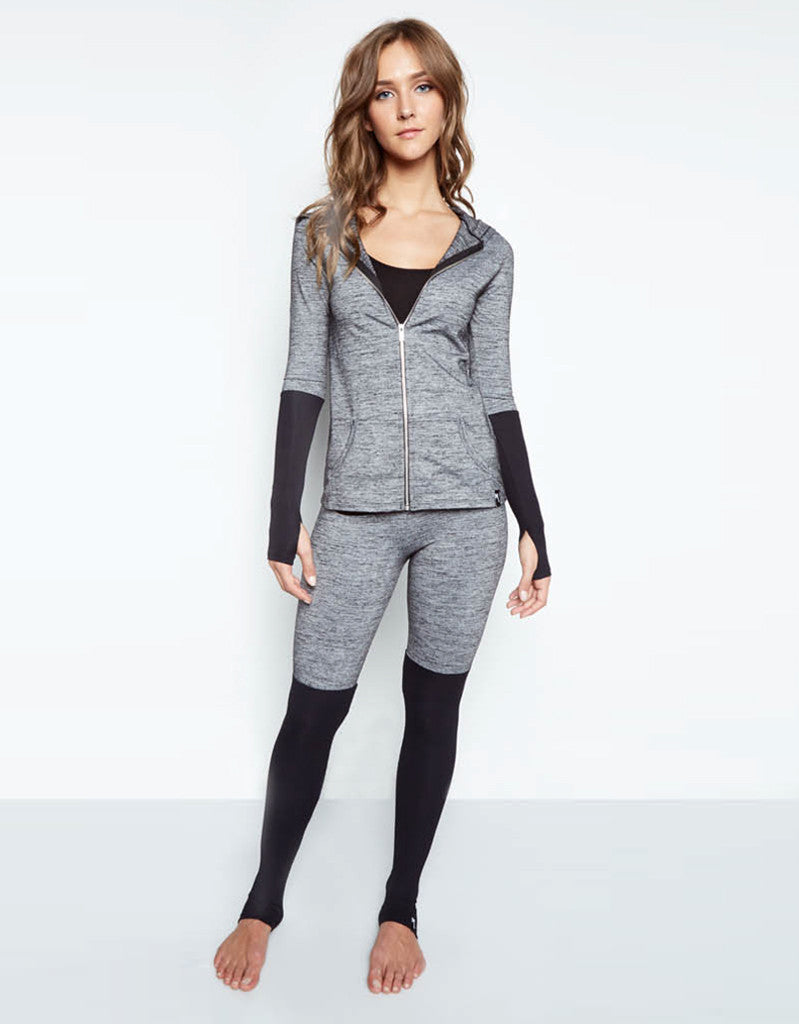 Michael Lauren Maddox Fitted Zip Up Hoodie in Stone/Black - SWANK - Tops - 3