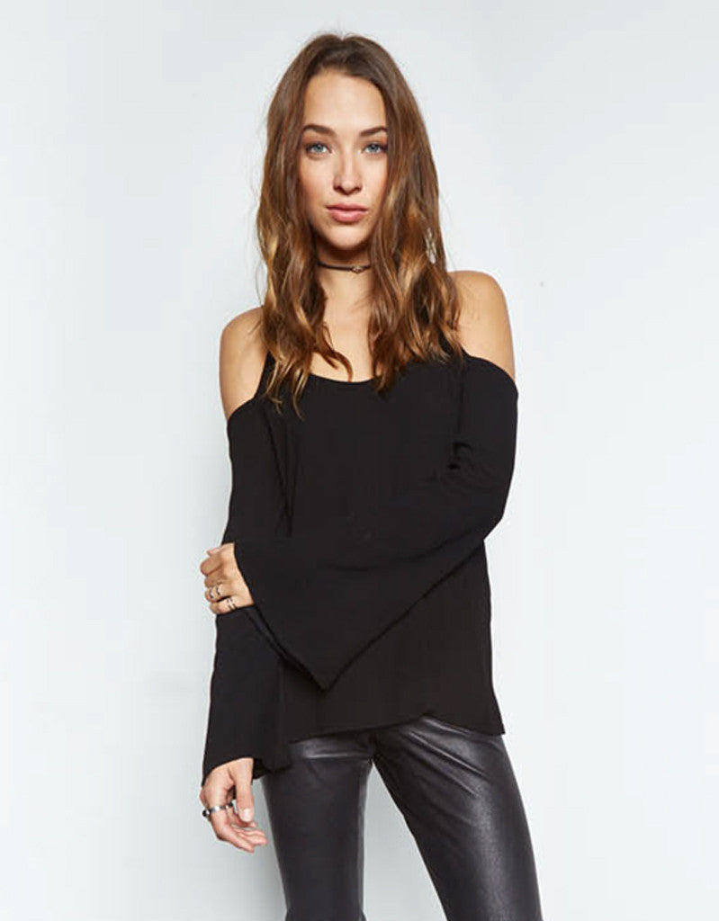 Michael Lauren Sampson Open Shoulder Bell Sleeve Top in Black - SWANK - Tops - 1