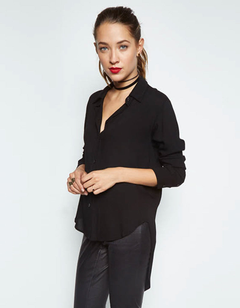 Michael Lauren Tomas Button Shirt w/Tail in Black - SWANK - Tops - 1