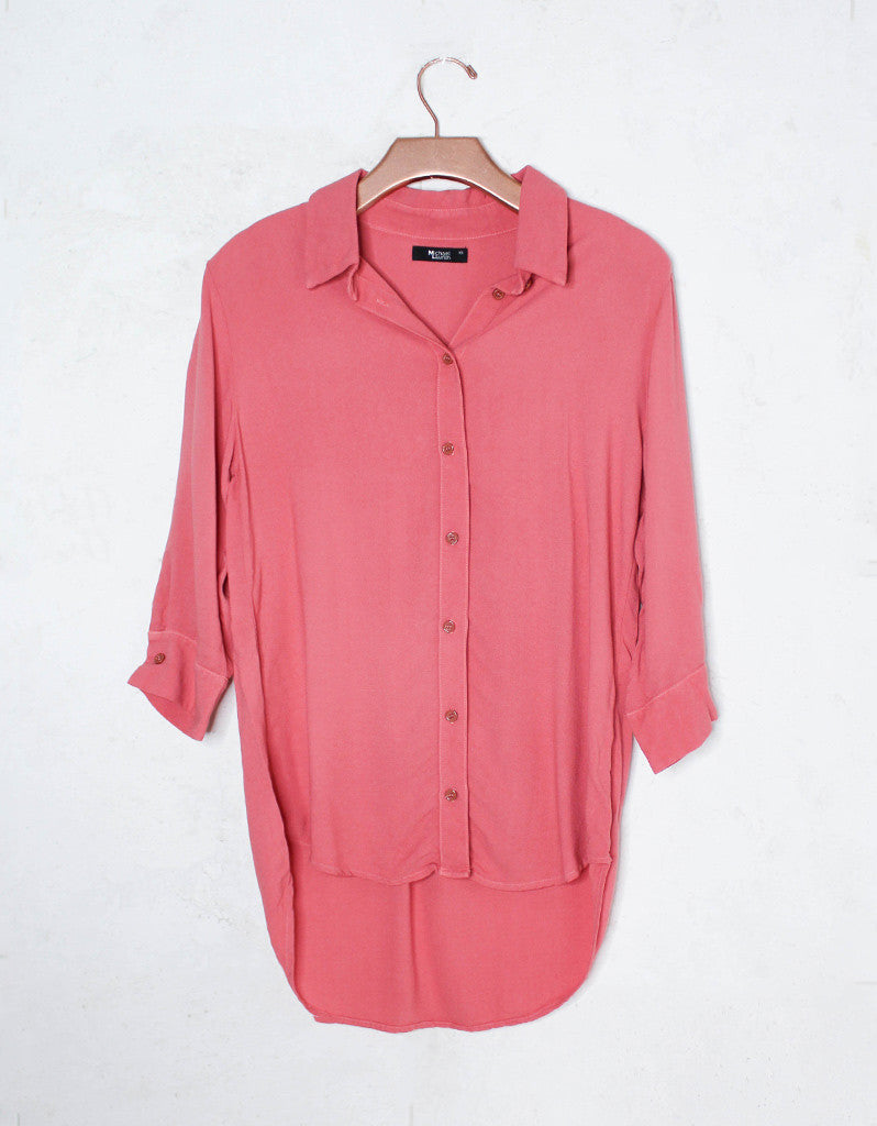 Michael Lauren Westbrook 3/4 Button Up Shirt in Primrose