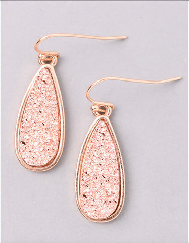 Vintage Snoot Moonlight Druzy Drop Earrings in Rose Gold