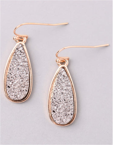 Vintage Snoot Moonlight Druzy Drop Earrings in Gunmetal