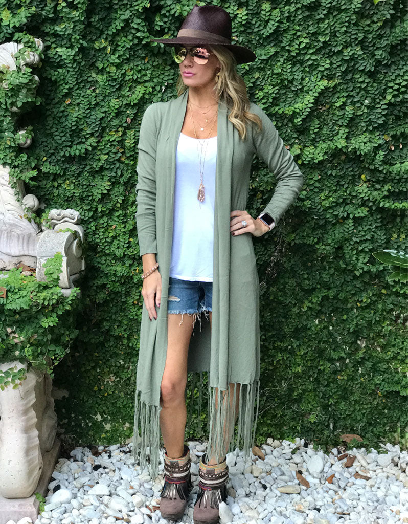 Zella Fringe Duster Cardigan in Grey