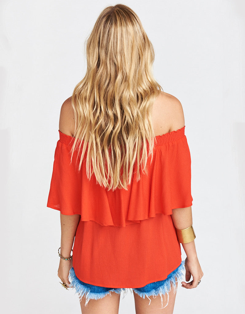Show Me Your Mumu Bungalow Top in Red Hot Chili Pepper Cloud