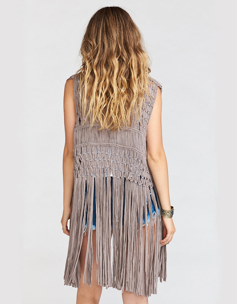 Show Me Your Mumu Dreamweaver Fringe Vest in Dune Crochet