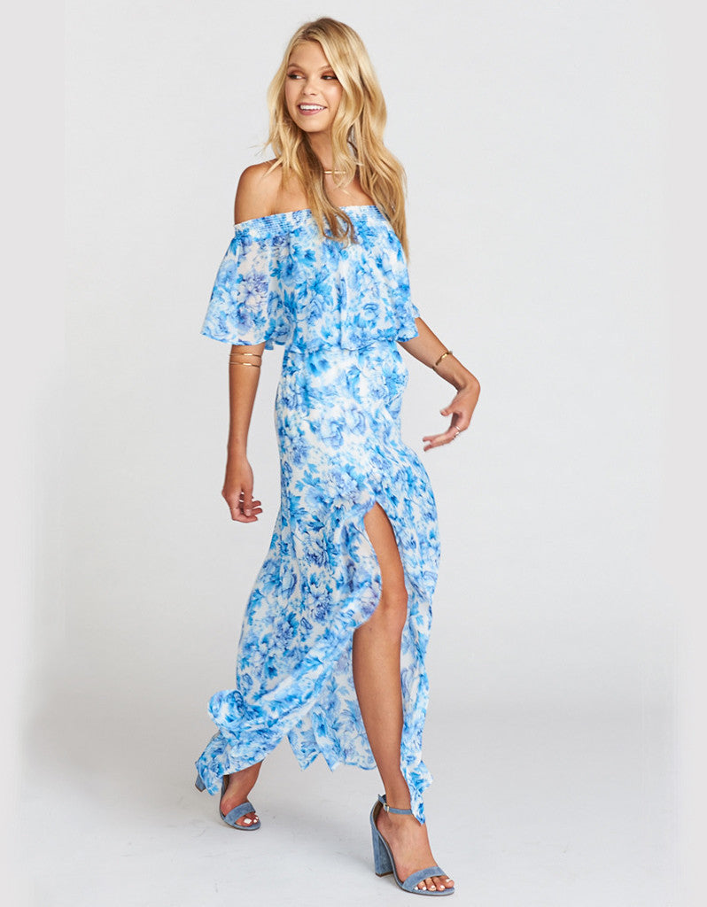 Show Me Your Mumu Hacienda Maxi Dress in Mama Blues