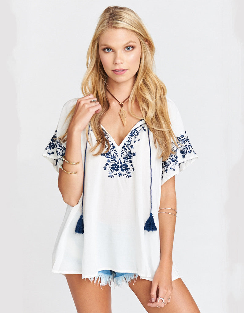 Show Me Your Mumu Hayden Tunic in Navy Embroidery