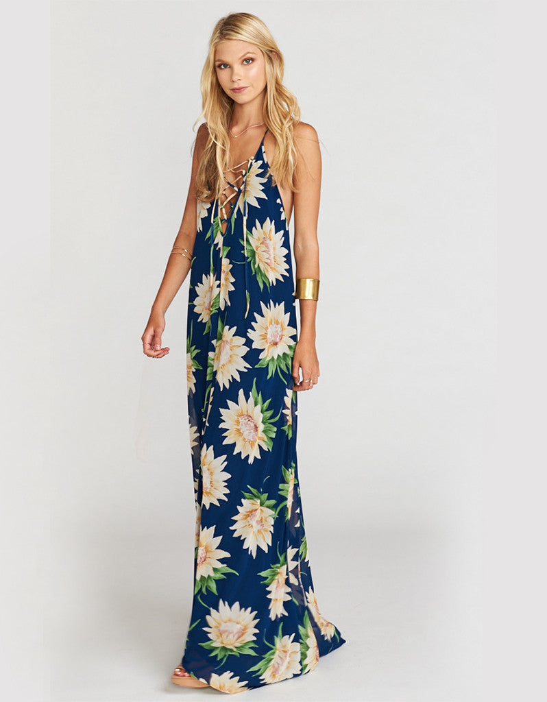 Show Me Your Mumu Logan Lace Up Maxi in Sunflower Dreams