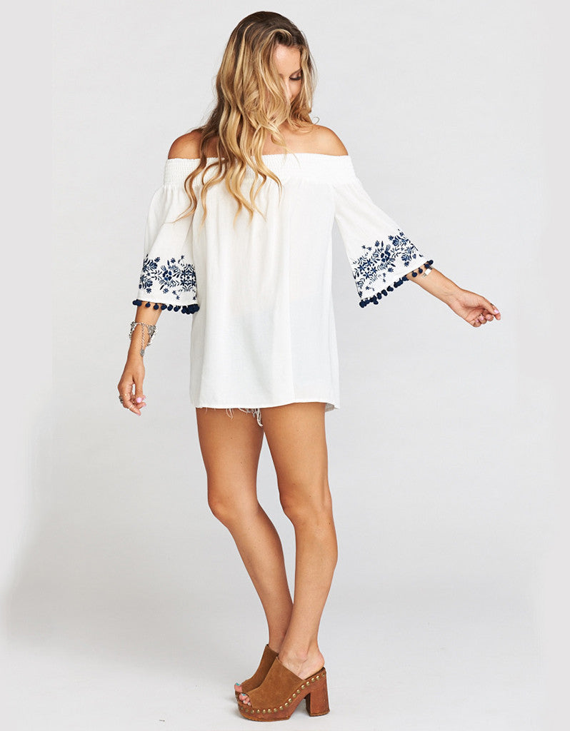 Show Me Your Mumu Presley Tunic in Navy Embroidery