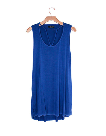 Michael Lauren Mackay Cut Out Dress in Ink Blue