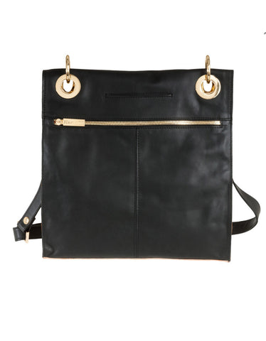 Hammitt Mark Bag in Black Out/Court Leather with Gold Hardware
