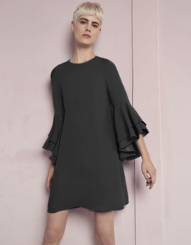 Alexis Melany Ruffle Sleeve Mini Dress in Black