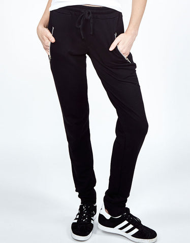 Michael Lauren Joey Skinny Zipper Sweatpants in Black