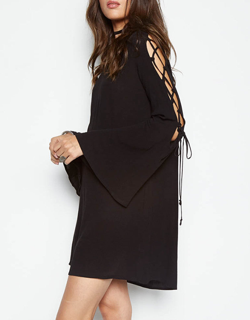 Michael Lauren Morrison Bell Sleeve Lace Up Dress in Black