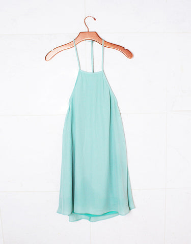 Show Me Your Mumu Katy Halter Dress in Sea Mist Crisp