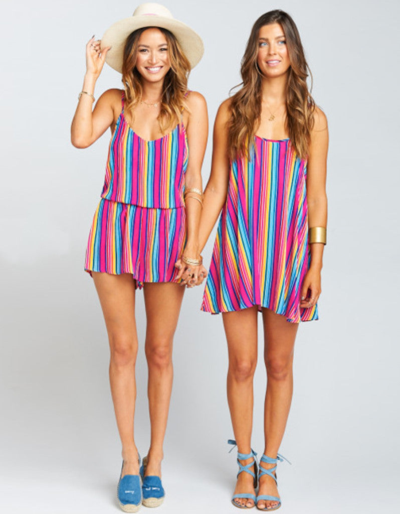 Show Me Your Mumu Rorey Romper in Stripe Up Your Life