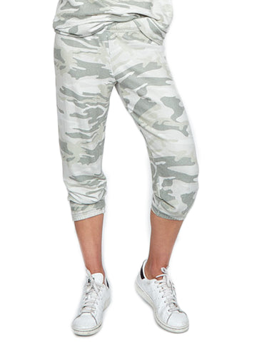 Michael Lauren Nate Crop Sweatpant in Green Camo