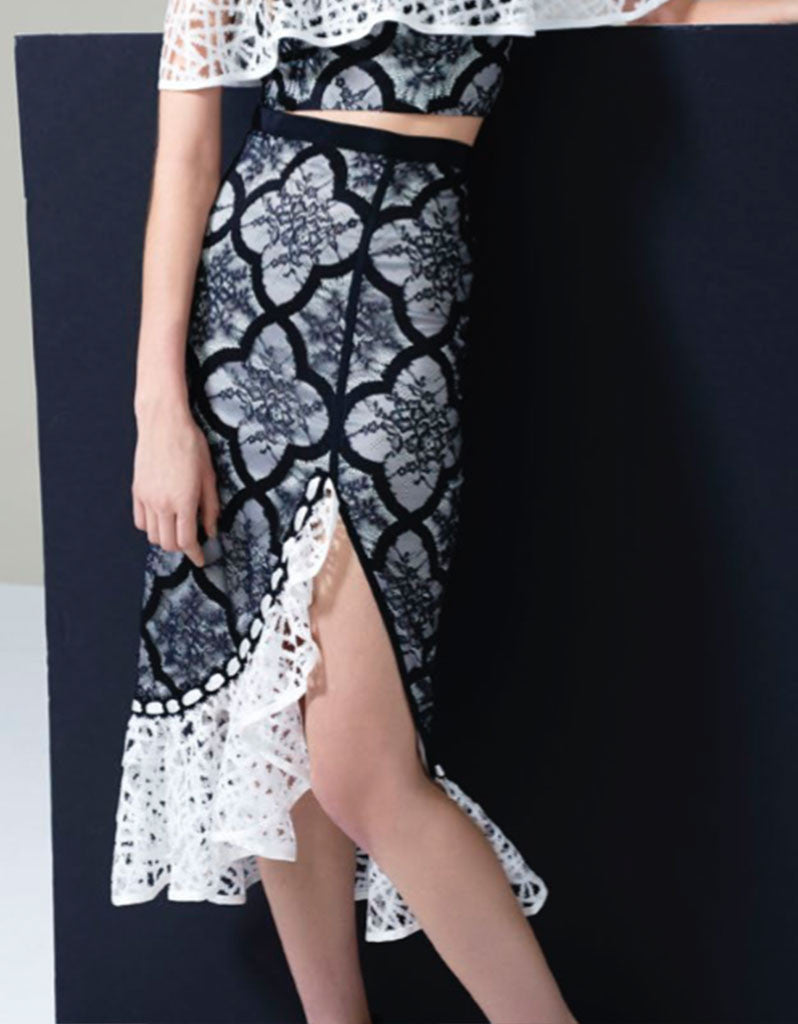 Alexis Natalie Ruffle Skirt in Black/White - SWANK - Skirts - 2