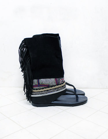 Custom Made Boho Sandals in Black | SIZE 37