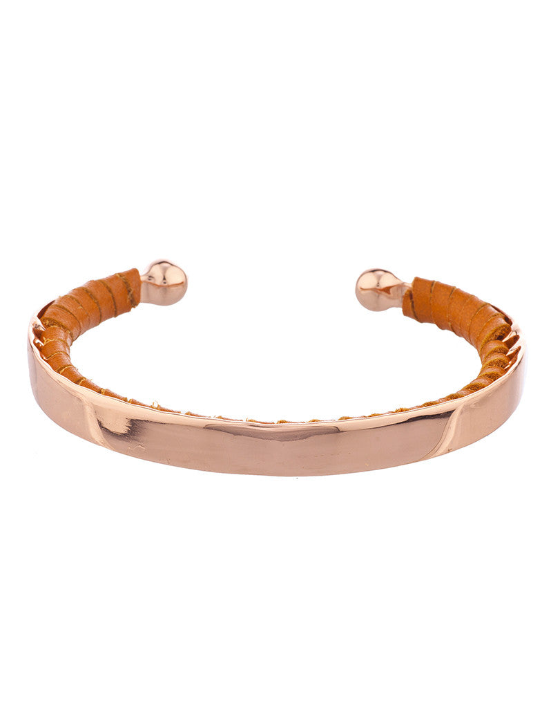Shashi Nicky Cuff in Rose Gold/Cognac