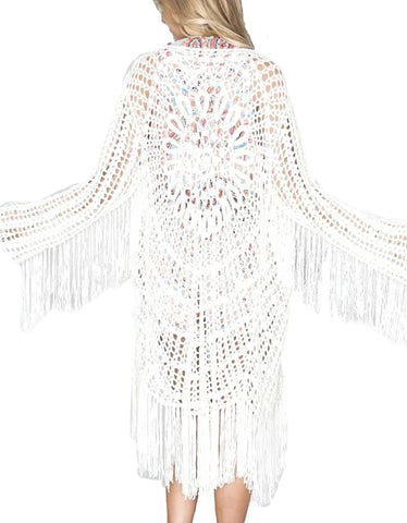 Show Me Your Mumu Crochet Fringe Kimono in Blonde