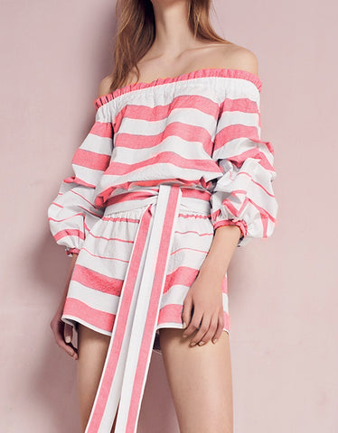 Alexis North Romper in Red White Stripes