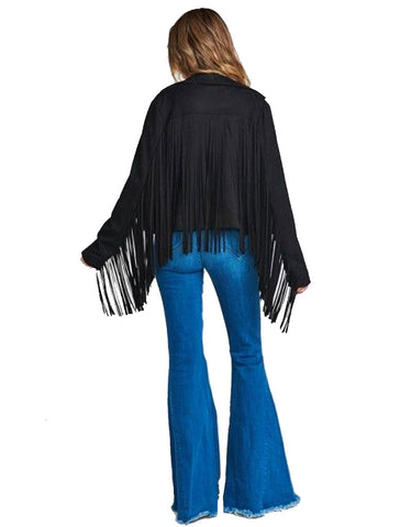 Show Me Your Mumu Ojai Fringe Jacket in Black Faux Suede
