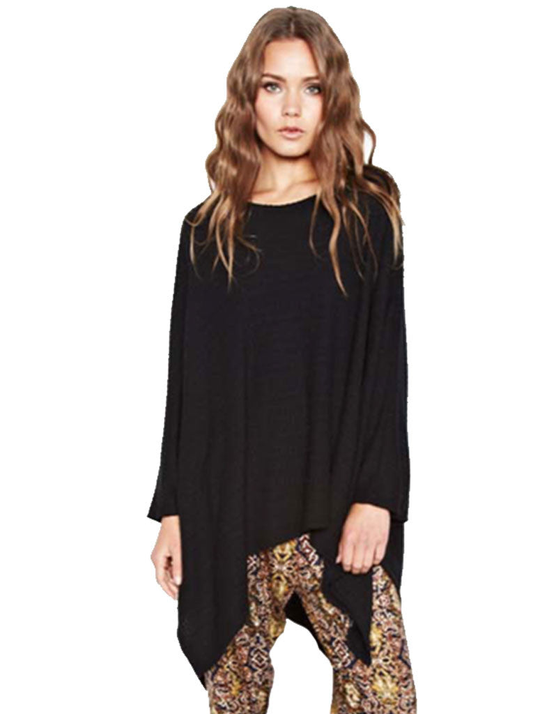 Michael Lauren Orrick Oversized Draped Cape in Black Waffle - SWANK - Tops - 2
