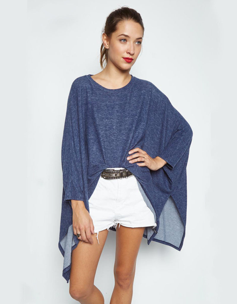 Michael Lauren Orrick Oversized Draped Cape in Navy/Marble