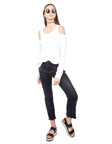 Michael Lauren Ox Open Shoulder Top in White