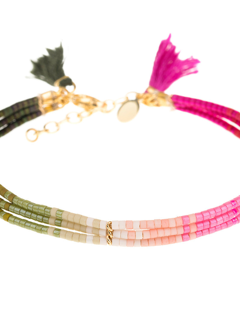 Shashi Ombre 3 Row Bracelet in Olive/Pink