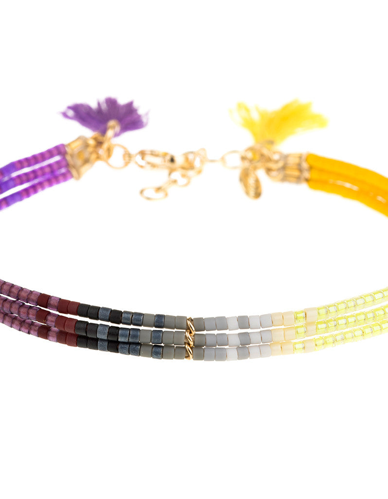 Shashi Ombre 3 Row Bracelet in Purple/Yellow