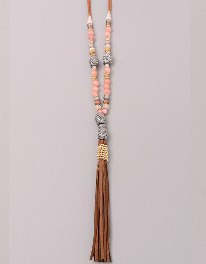 Paltrow Pave Beaded Fringe Tassel Necklace in Brown
