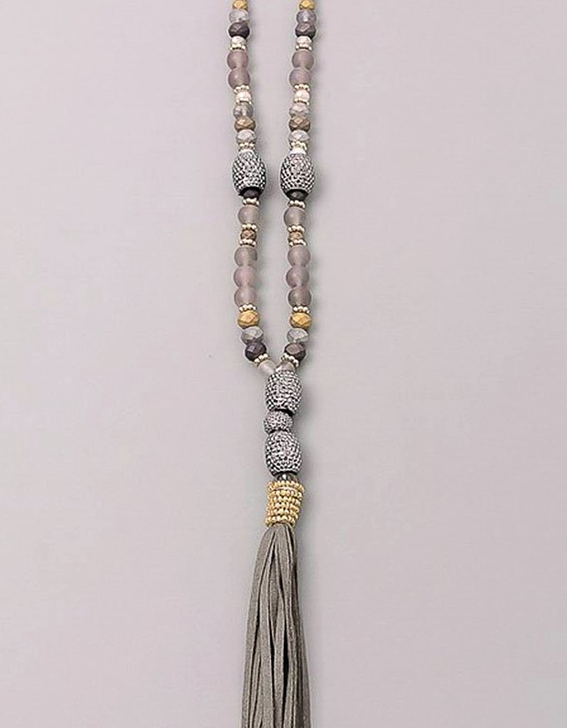Paltrow Pave Beaded Fringe Tassel Necklace in Grey