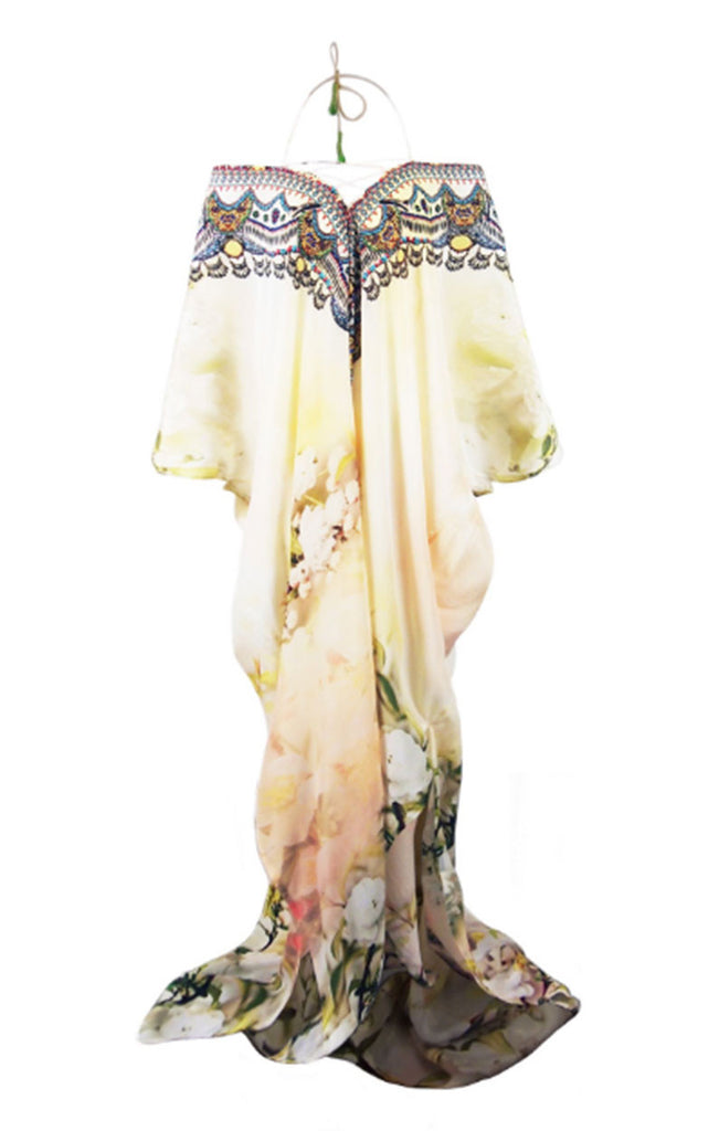Parides Lace Up Kaftan in Cherry Blossom - SWANK - Dresses - 5