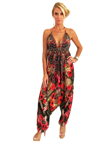 Parides Harem Jumpsuit in Melange Poppy