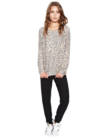 Michael Lauren Percy Classic Pullover in Tan Leopard