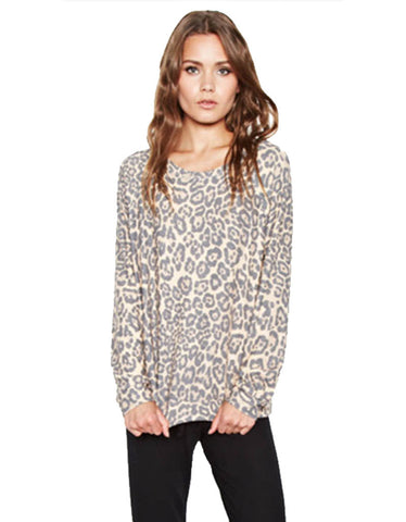 Michael Lauren Kayo Oversized Pullover in Tan Leopard