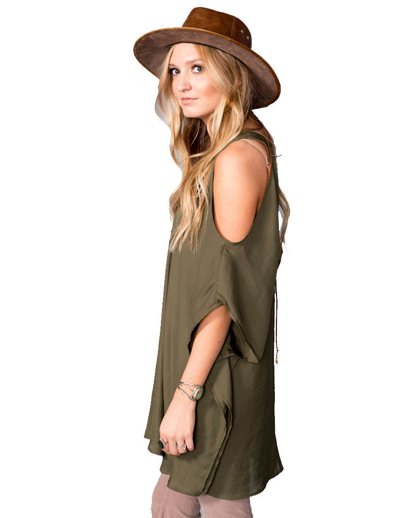 Show Me Your Mumu Peta-Boo Tunic in Olive Silky Satin - SWANK - Tops - 3