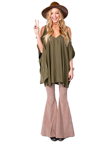 Show Me Your Mumu Peta-Boo Tunic in Olive Silky Satin