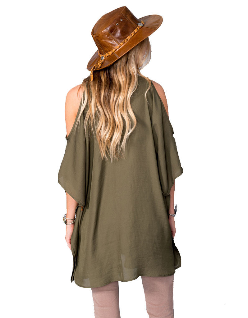 Show Me Your Mumu Peta-Boo Tunic in Olive Silky Satin - SWANK - Tops - 4