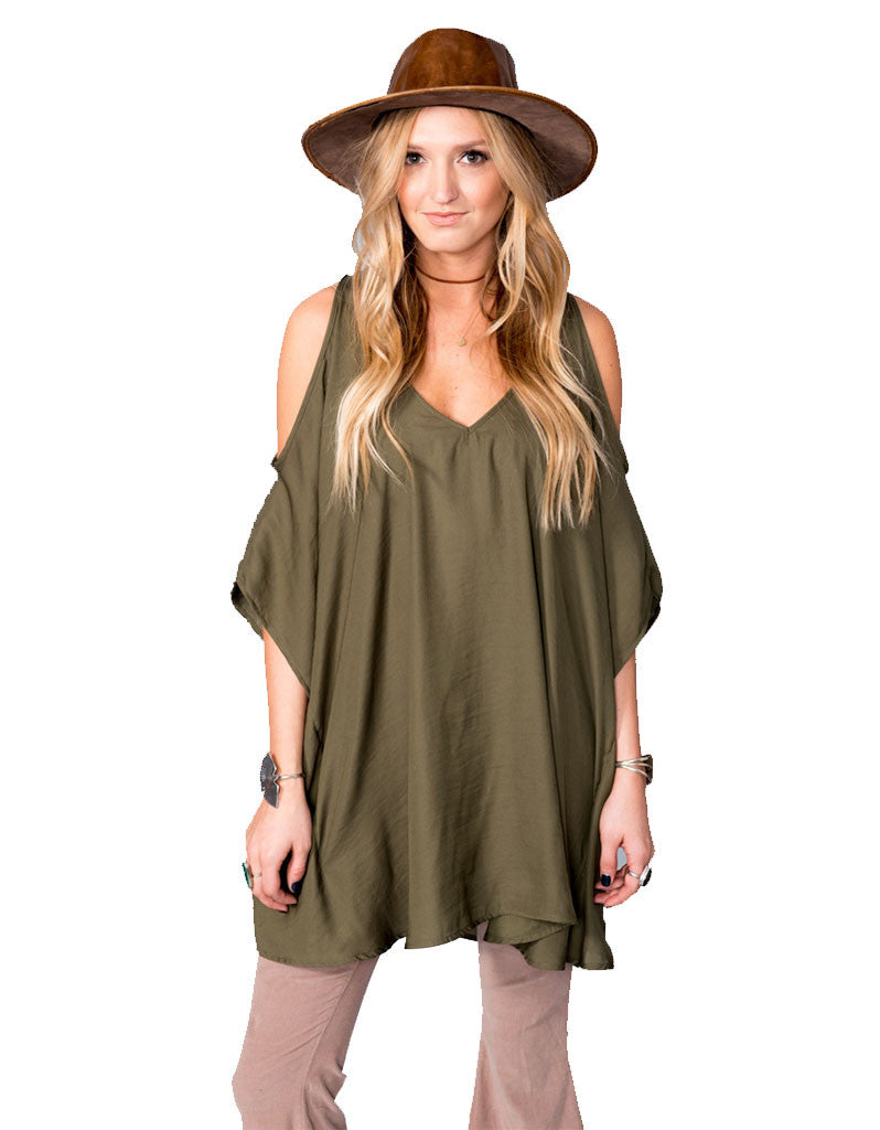 Show Me Your Mumu Peta-Boo Tunic in Olive Silky Satin - SWANK - Tops - 1