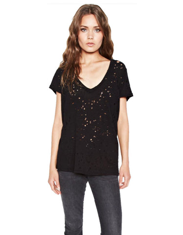 Michael Lauren Poet V-Neck Tee w/Holes in Black