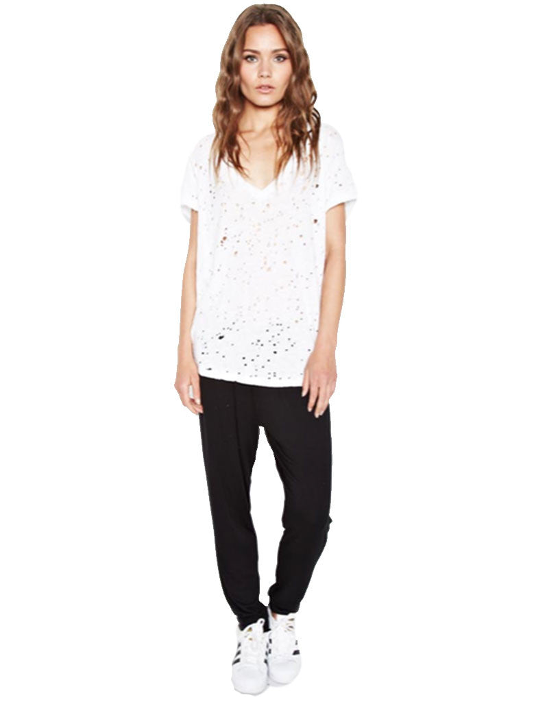 Michael Lauren Poet V-Neck Tee w/Holes in White - SWANK - Tops - 2