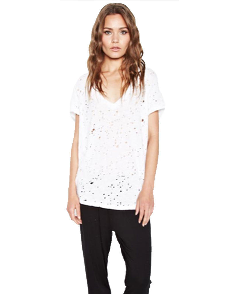 Michael Lauren Poet V-Neck Tee w/Holes in White - SWANK - Tops - 1
