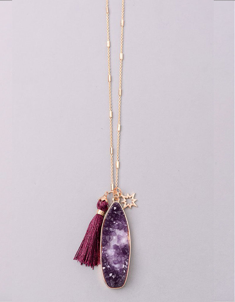 Vintage Snoot Starfire Druzy Necklace in Purple